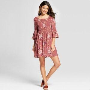 Xhilaration Smocked Floral Bell Sleeve Dress